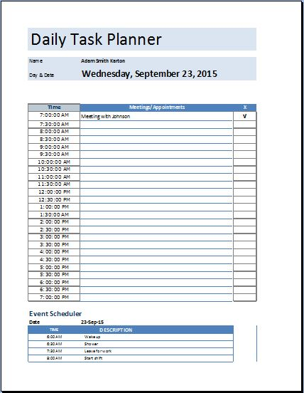 Microsoft excel daily work schedule template work for Template for daily tasks