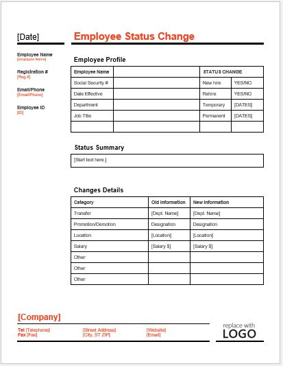 Employee status change form template word excel templates for Payroll change notice form template