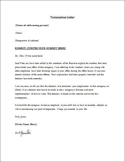 Employment Termination Form Template | Word & Excel Templates