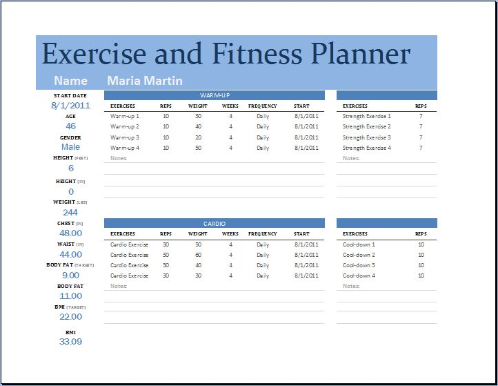 ms excel exercise and fitness planner template word excel