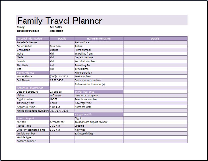Ms Excel Family Travel Planner Template  Word  Excel Templates