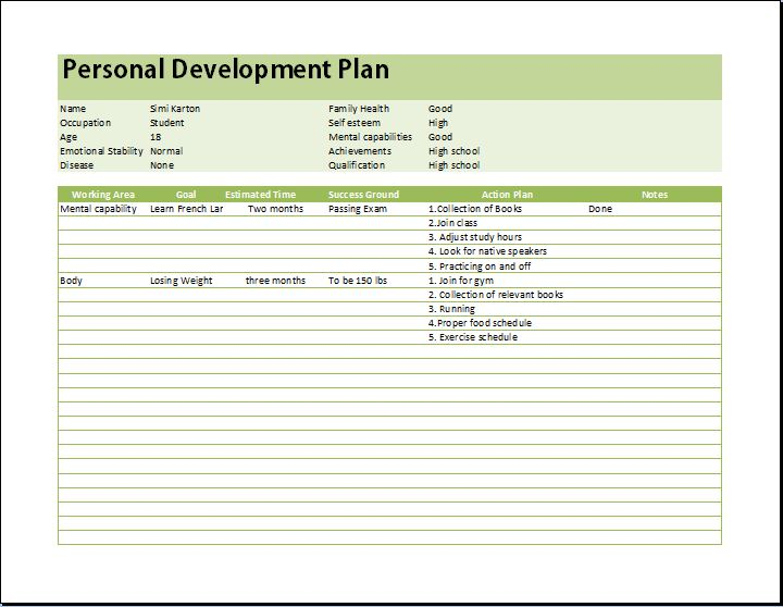 Personal Development Planner Template | Word & Excel Templates