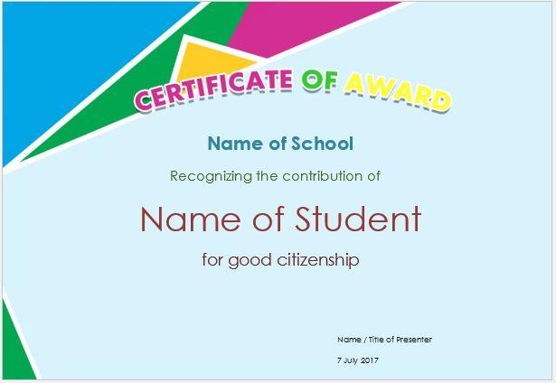 Prize Award Certificate Template