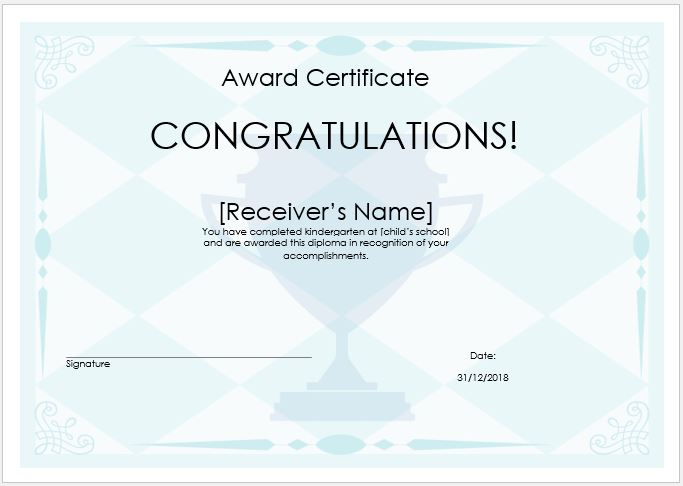 Price winner award certificate template word excel templates prize award certificate yadclub Image collections
