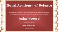 Prize Winner Award Certificate