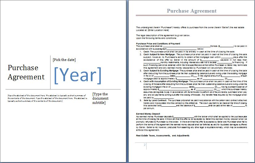 MS Word Purchase Agreement Form Template – Purchase Agreement Template