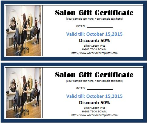 Ms Word Salon Gift Certificate Template  Word  Excel Templates