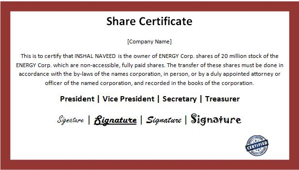 Business share certificate template word excel templates for Share certificate template companies house