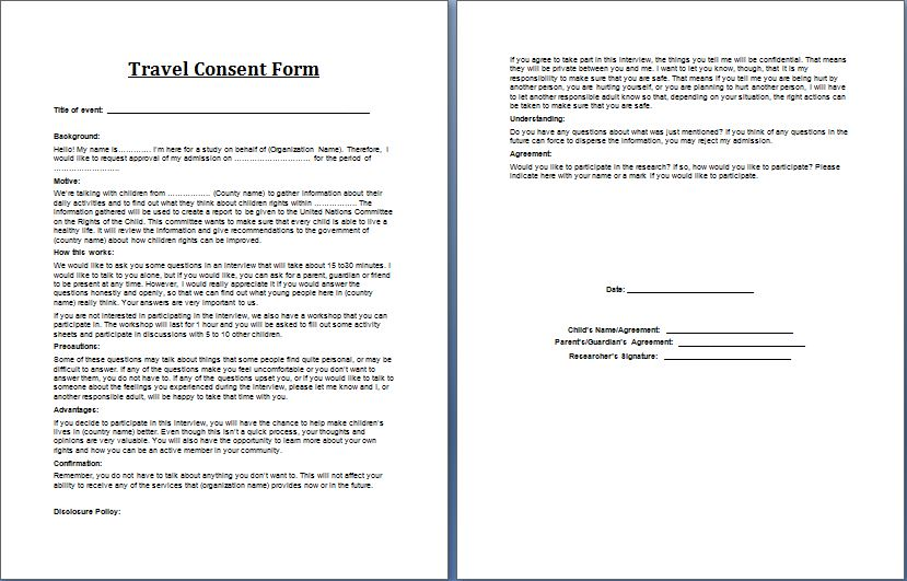 Printable MS Word Parent Consent Forms – Sample Permission Letter for Traveling Child