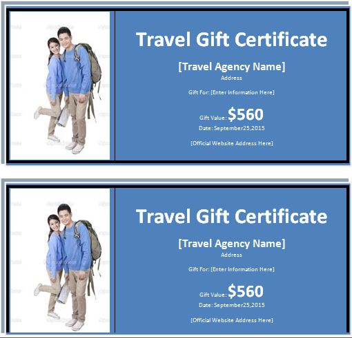 MS Word Travel Gift Certificate Template