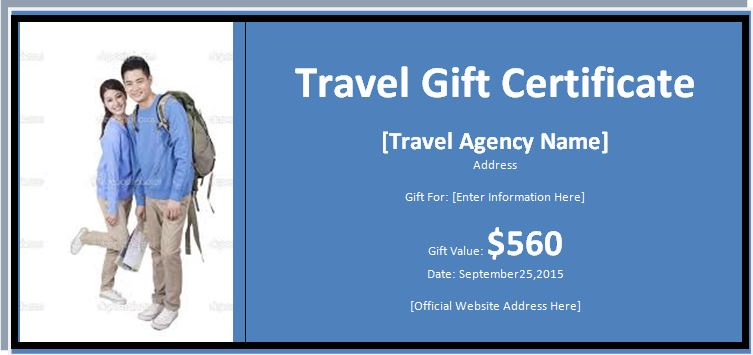 Travel Gift Certificate Word Excel Templates