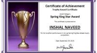 Trophy Award Certificate