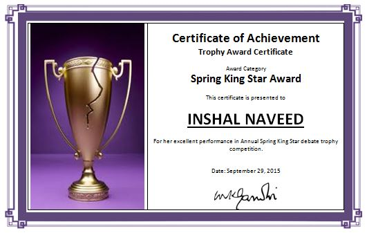 Trophy award certificate sample template word excel templates trophy award certificate cheaphphosting Images