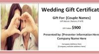 Wedding gift certificate
