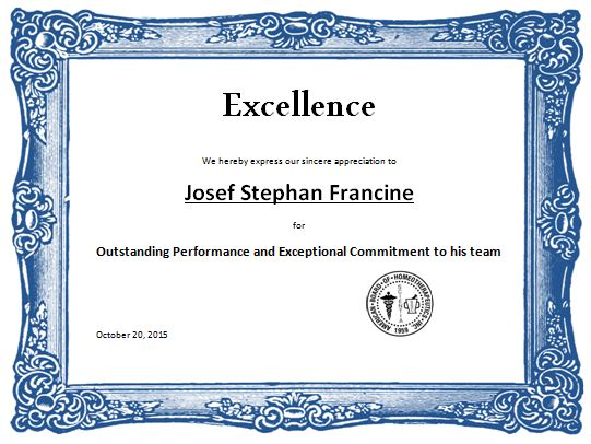 Excellence Award Certificate Template