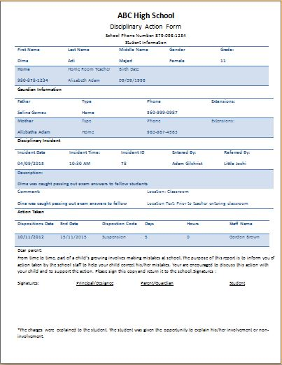Student Disciplinary Action Form Template | Word & Excel ...