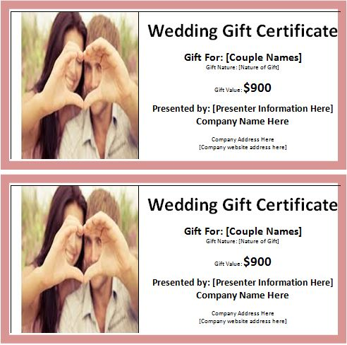 Ms Word Wedding Gift Certificate Template Word Excel Templates