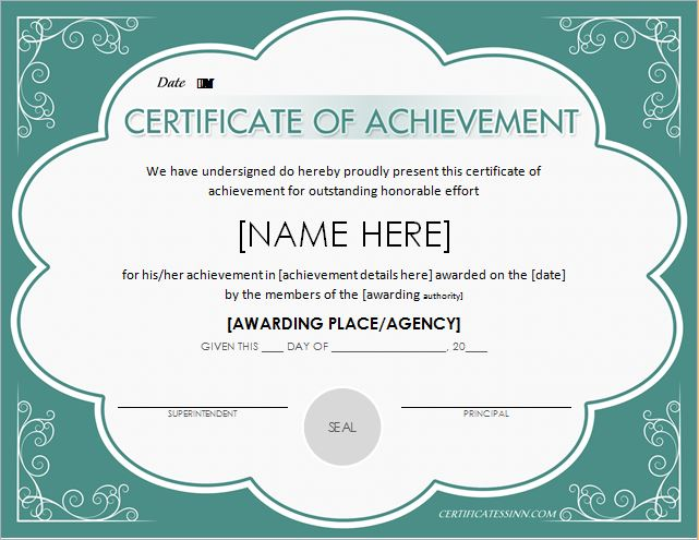 Certificate Of Achievement Template  Award Templates Word
