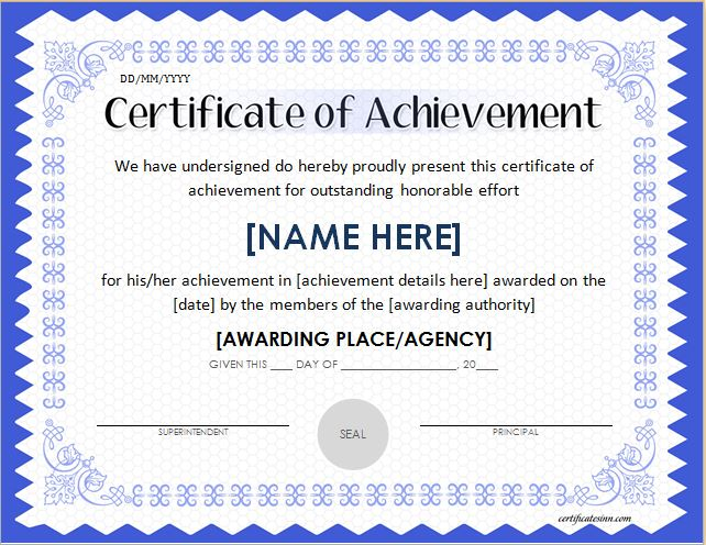 certificate for achievement template 28 images
