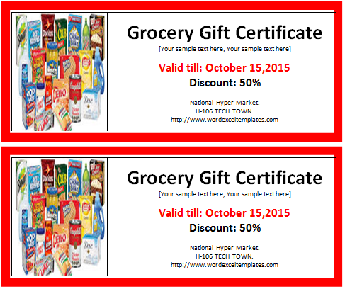 MS Word Grocery Gift Certificate Template – Gift Certificate Wording