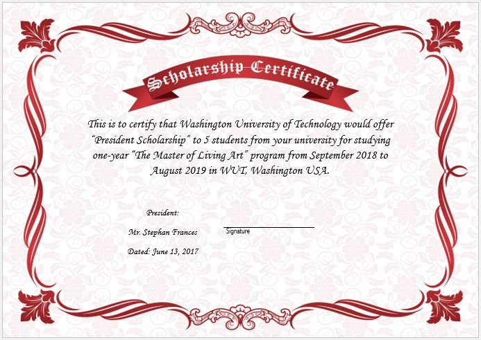 Scholarship award certificate template word excel templates scholarship certificate template yelopaper Image collections