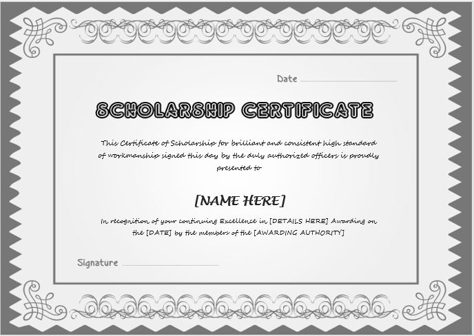 Scholarship Award Certificate Template | Word & Excel Templates