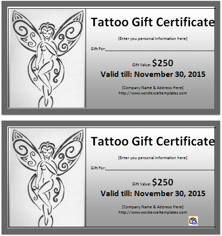 Tattoo Gift Certificate Template  Free Gift Certificate Template For Word