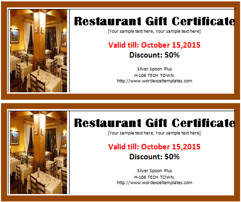 Restaurant Gift Certificate Template  Coupon Sample Template