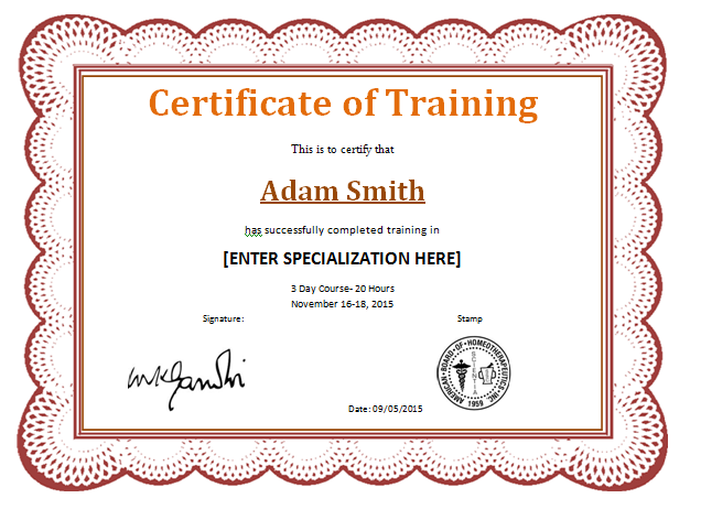 Training Completion Award Certificate