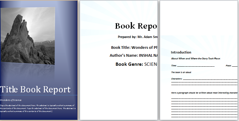 Elementary Book Report Format  Book Template Word