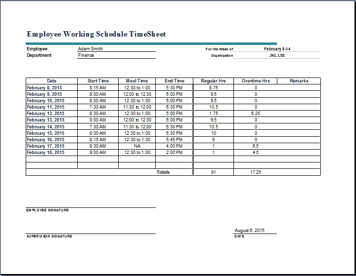 Employee Working Schedule Time Sheet