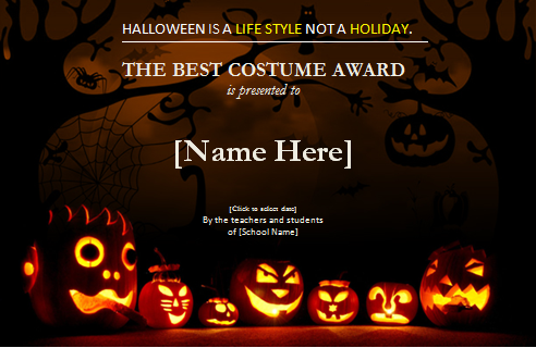 Halloween Best Costume Award Certificate Word Amp Excel