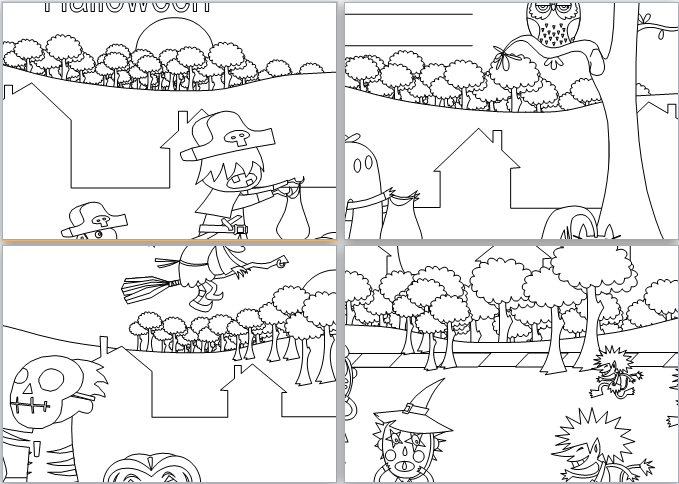 MS Word Halloween Coloring Book Template