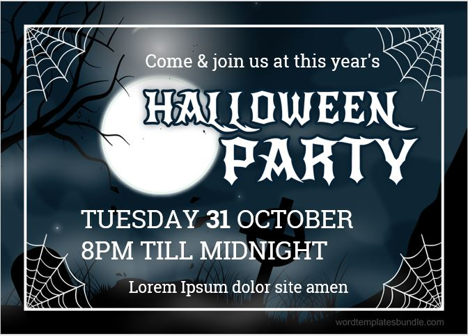 ms word halloween party invitation card templates