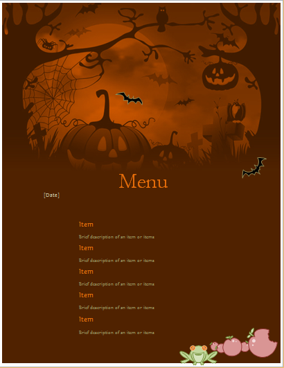 Halloween party menu sheet