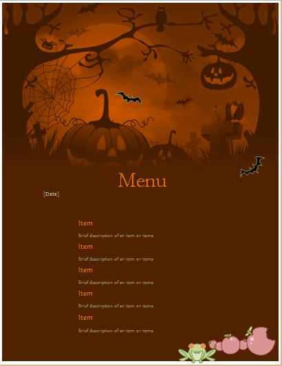 Halloween party menu sheet