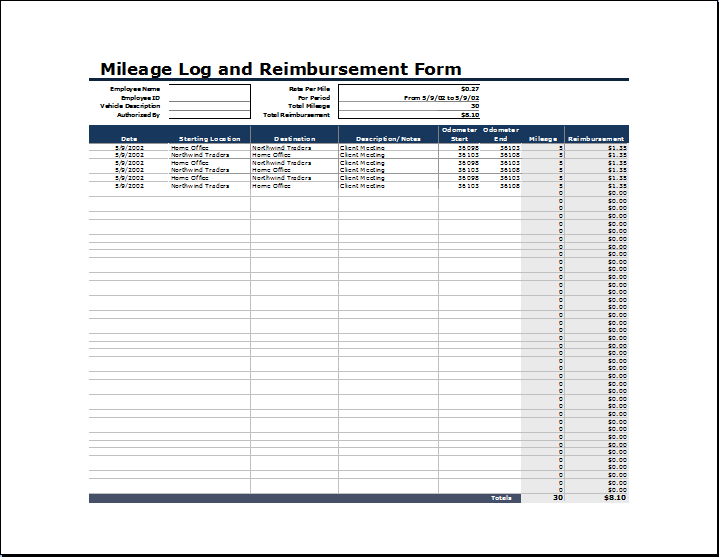 Ms excel vehicle mileage log template word excel templates mileage log and reimbursement form wajeb Images