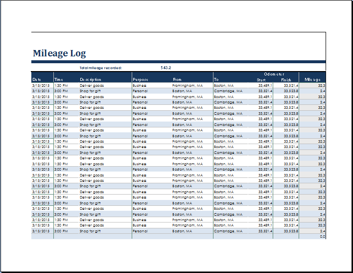 ms excel vehicle mileage log template
