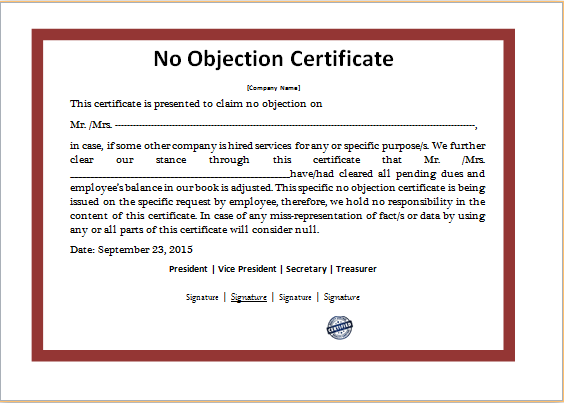 MS Word No Objection Certificate Template – Letter of No Objection Template