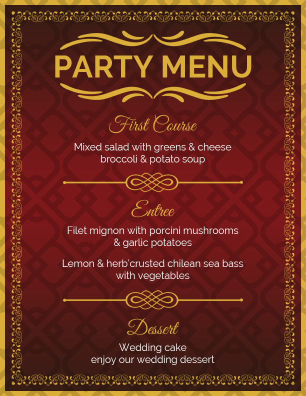 ms word halloween party menu sheet