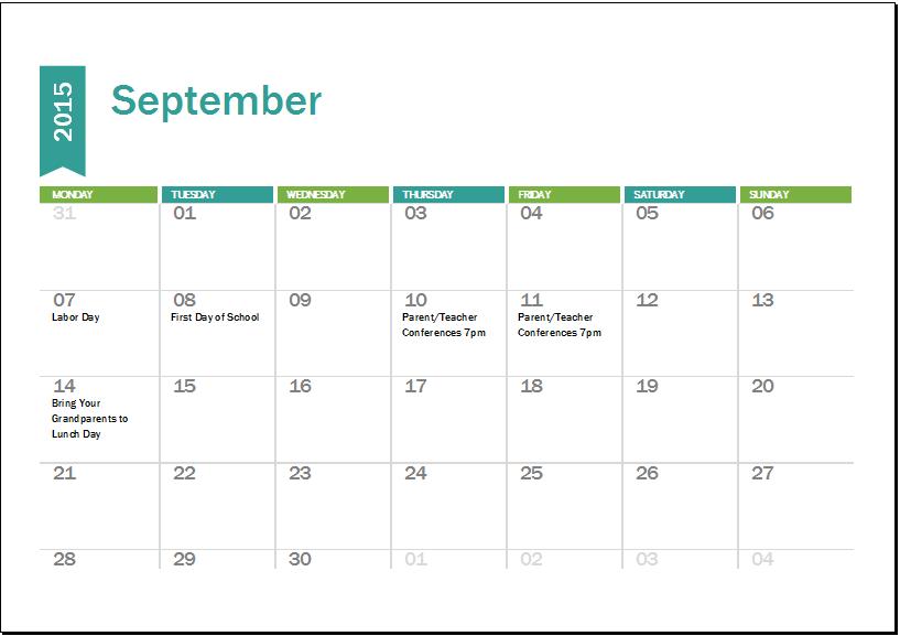 Academic Calendar Template 2015-2016