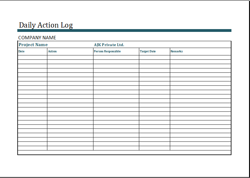 MS Excel Daily Action Log Template