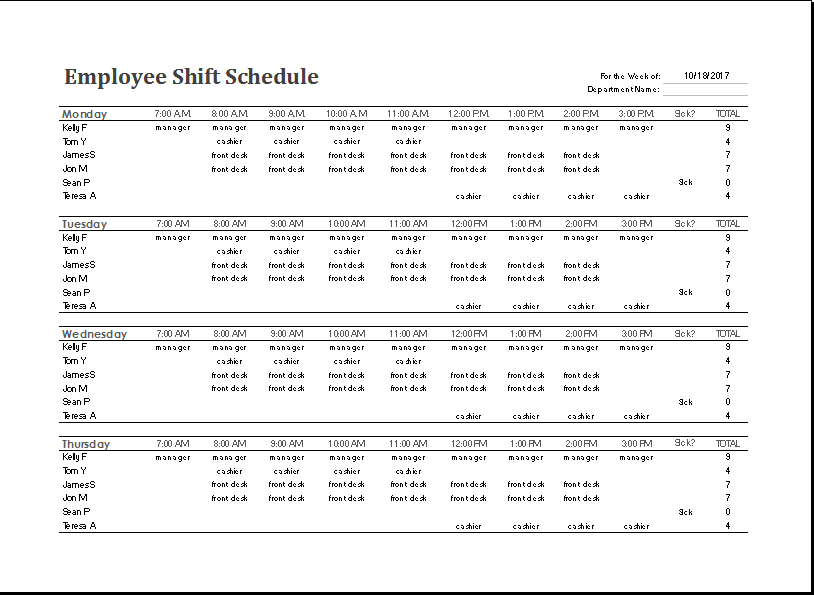 10 hour shift templates - 8 hour shift schedule templates