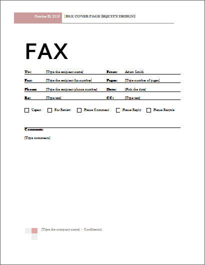 MS Word Fax Cover Sheet Template – Fax Cover Sheets Template