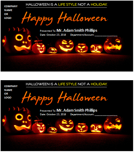 Halloween gift certificate template
