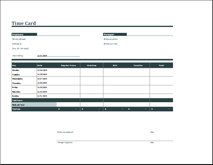 Employee daily time card format