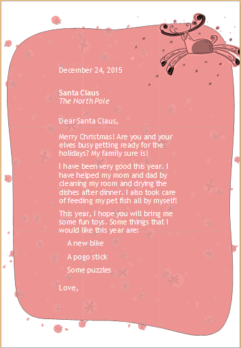 Dear Santa Letter Samples For Ms Word Word Excel Templates