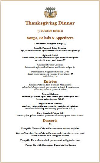 thanksgiving dinner menu template
