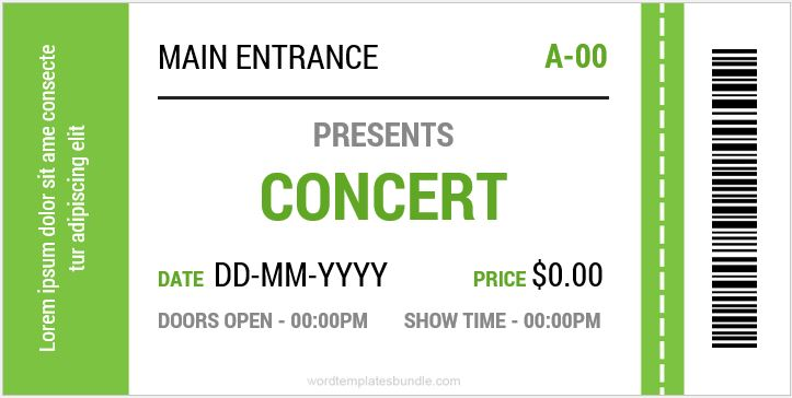 MS Word Event Ticket Template