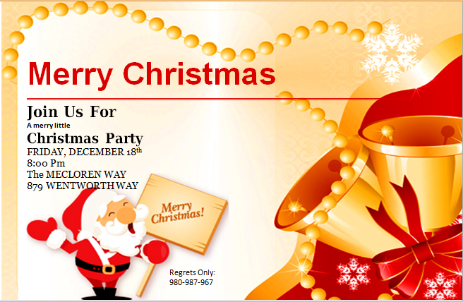 Ms Word Merry Christmas Party Invitation Cards Word